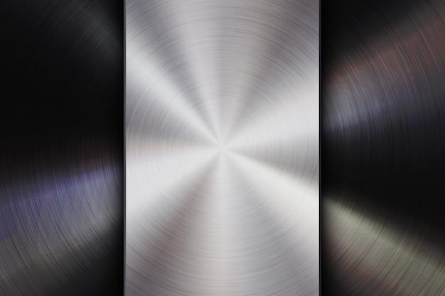 Odznaka technologii z metalowym tle szczotkowanego teksturą