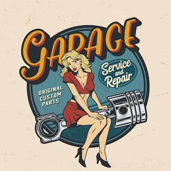 Odznaka usługi naprawy rocznika kolorowy garaż