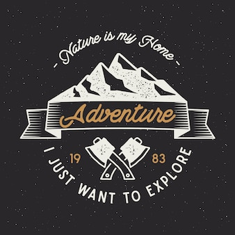 Odznaka vintage adventure z tekstem, natura to mój dom, chcę po prostu odkryć