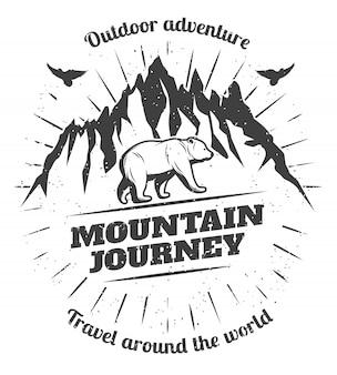 Odznaka vintage mountain travel