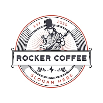 Odznaka vintage rocker coffee
