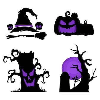Odznaka wektor zestaw kolekcja shilouette halloween