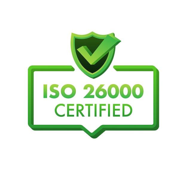Odznaka z certyfikatem iso 26000, ikona. pieczęć certyfikacji. ilustracja wektorowa płaska konstrukcja.