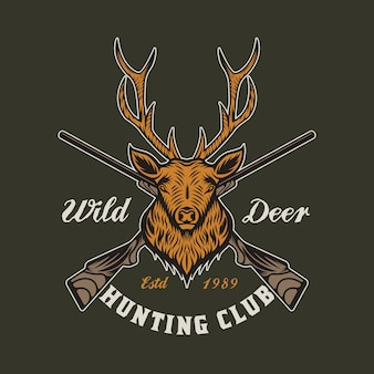 Odznaka z emblematem vintage deer hunting and adventure