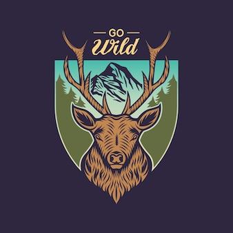 Odznaka z emblematem vintage deer hunting and adventure