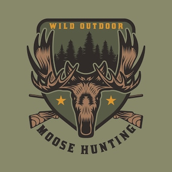 Odznaka z emblematem vintage wild moose hunting and adventure