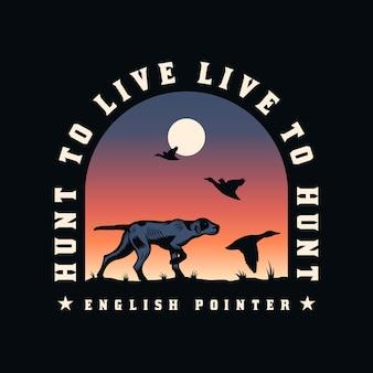 Odznaka Z Godłem Pies Myśliwski Angielski Pointer Premium Wektorów