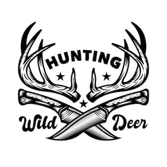 Odznaka z godłem polowania i przygody w stylu vintage