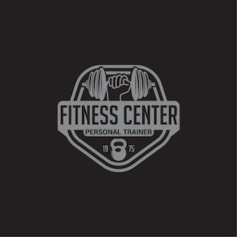 Odznaka z logo fitness i siłownia