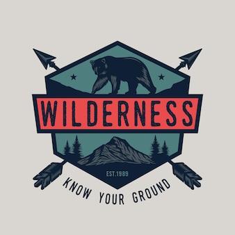 Odznaka z polowaniem na niedźwiedzie i na zewnątrz