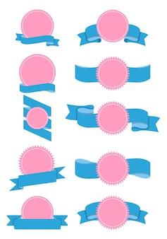 Odznaka z zakrzywionymi wstążkami na białym tle zestaw