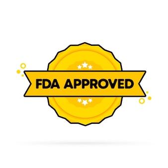 Odznaka zatwierdzona przez fda. wektor. ikona pieczęć zatwierdzone przez fda. certyfikowane logo odznaki. szablon pieczęci. etykieta, naklejka, ikony.