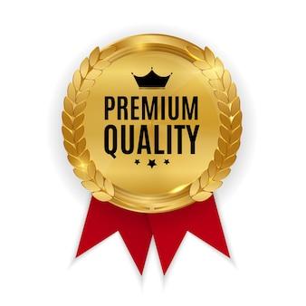 Odznaka złotego medalu najwyższej jakości. etykieta pieczęć na białym tle