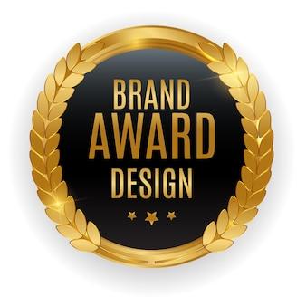 Odznaka złotego medalu najwyższej jakości. etykieta pieczęć projekt nagrody marki na białym tle