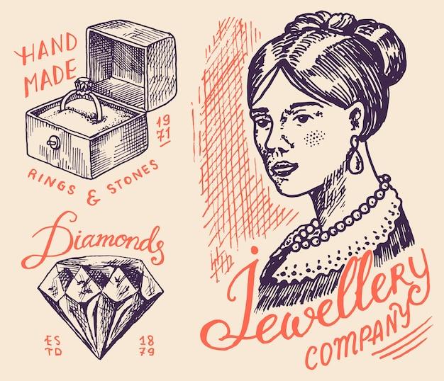 Odznaki biżuterii damskiej i logo sklepu