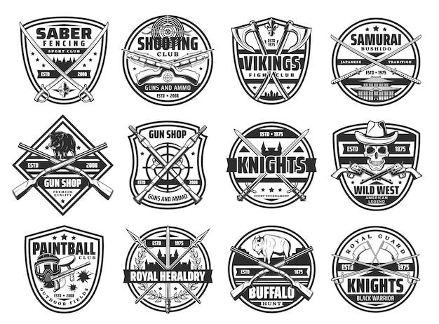 Odznaki broni z herbowymi ikonami średniowiecznego miecza rycerskiego i szabli