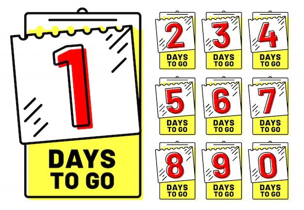 Odznaki dni, odznaka odliczania, pozostały dzień i zestaw izolowanych znaczników czasu