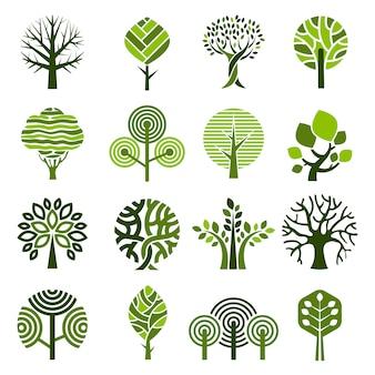 Odznaki drzewne. abstrakcjonistyczny graficzny natury eco obrazuje prostego wzrostowego rośliny wektoru emblemat