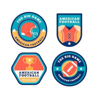 Odznaki futbolu amerykańskiego w stylu retro