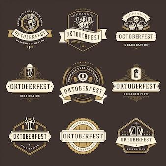 Odznaki i etykiety oktoberfest lub logo zestaw vintage