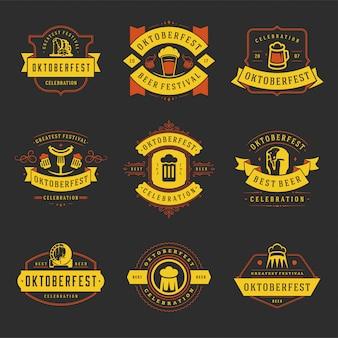 Odznaki i etykiety oktoberfest zestaw vintage typograficzne