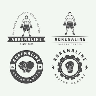 Odznaki i etykiety z logo boksu i sztuk walki w stylu vintage. ilustracja wektorowa
