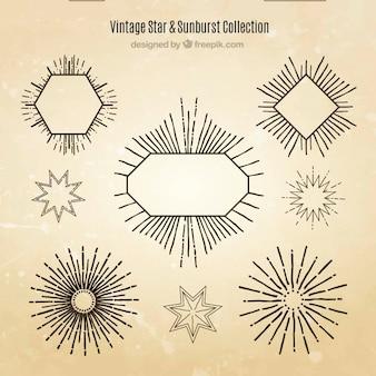 Odznaki i ozdobne elementy sunburst z gwiazdami