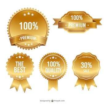 Odznaki jakości premium za darmo zestaw złoto