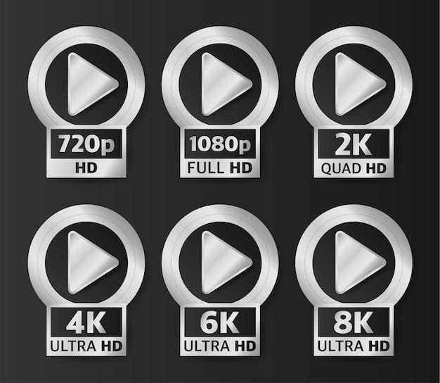 Odznaki jakości wideo w kolorze srebrnym na czarnym tle. hd, full hd, 2k, 4k, 6k i 8k.