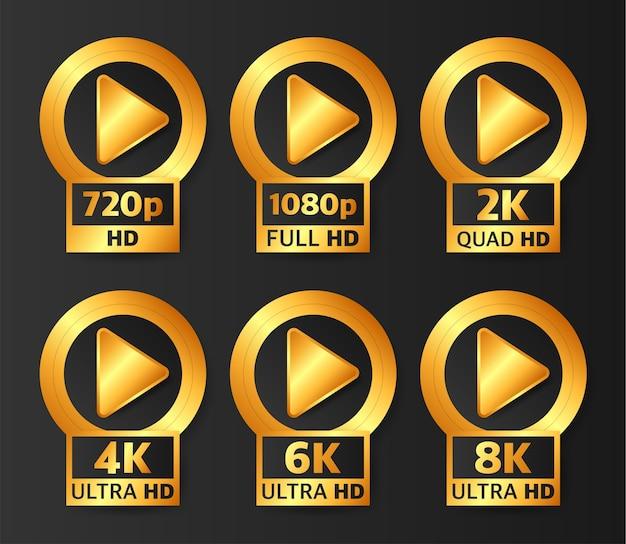 Odznaki jakości wideo w kolorze złotym na czarnym tle. hd, full hd, 2k, 4k, 6k i 8k.