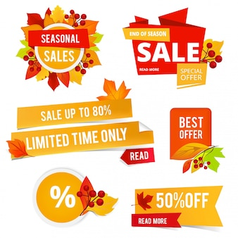 Odznaki jesiennych wyprzedaży. różne naklejki lub etykiety z jesiennych wyprzedaży