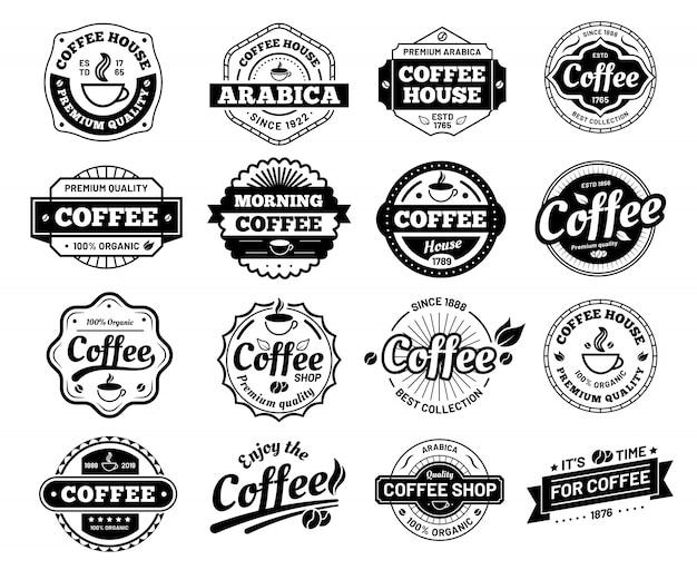 Odznaki kawowe. naklejka ze znaczkiem logo kawiarni. logotyp restauracji. vintage logo na białym tle