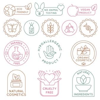 Odznaki kosmetyków organicznych. bio kosmetyki do skóry, ekologia opakowania, wegańskie, naturalny składnik. ikona żywności ekologicznej i etykieta wektor zestaw. kosmetologia bez okrucieństwa i parabenów do pielęgnacji