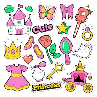 Odznaki księżniczki, łatki, naklejki - korona, zamek, serce, pierścień w komiksowym stylu pop-art. ilustracja