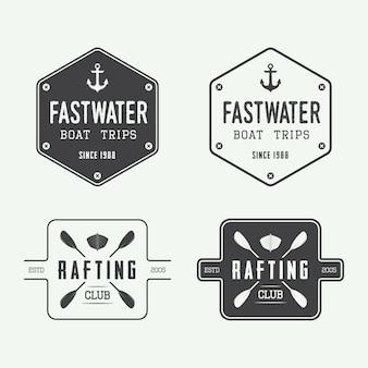 Odznaki logo raftingu