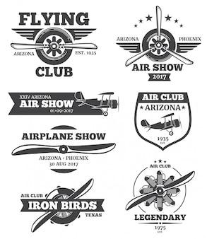 Odznaki lotnicze, emblematy klubowe avia, zestaw logo samolotu. retro samolot z śmigłem, airshow l