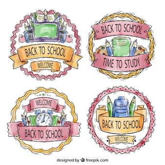 Odznaki malowane akwarelą na powrót do szkoły