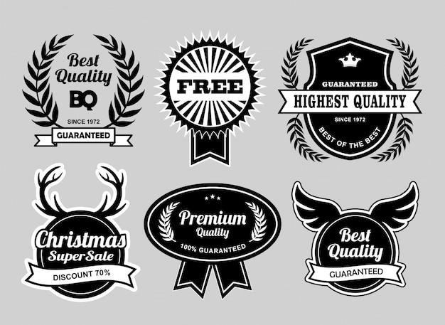 Odznaki na etykietę najlepszej jakości i świątecznej wyprzedaży