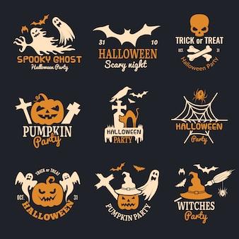 Odznaki na halloween. strona przerażające logo horror symbole czaszki kości kolekcja halloween