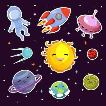 Odznaki na powierzchni kosmicznej z planetami, gwiazdami i statkami kosmicznymi obcych