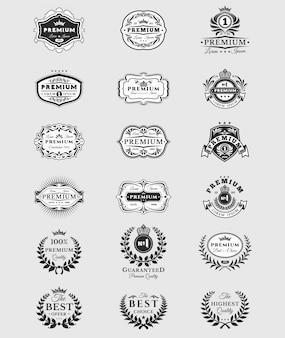 Odznaki, naklejki premium jakości wyizolowanych na białym tle