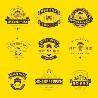 Odznaki oktoberfest i etykiety lub logo ustawić vintage