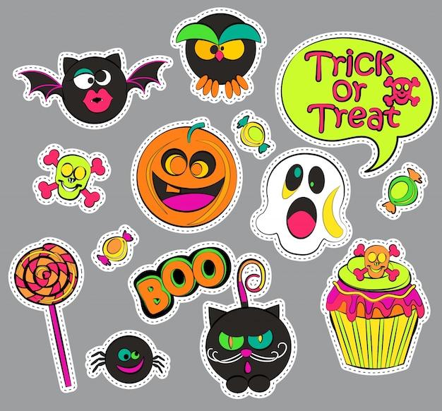 Odznaki plakietek halloween.