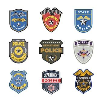 Odznaki policyjne. znaki i symbole bezpieczeństwa logotypy funkcjonariuszy departamentu rządowego
