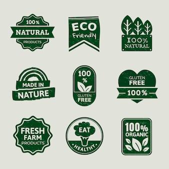 Odznaki produktów ekologicznych zestaw wektor dla kampanii marketingowych żywności