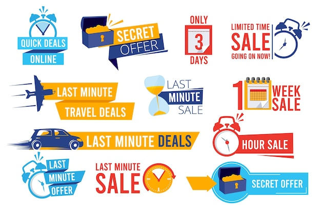 Odznaki rabatowe. reklama promocyjna oferuje ostatnią szansę sprzedaży alarmu i zegarów kolekcji znaków najlepszych ofert. cena etykiety ilustracyjnej, rabat promocyjny, sprzedaż promocyjna