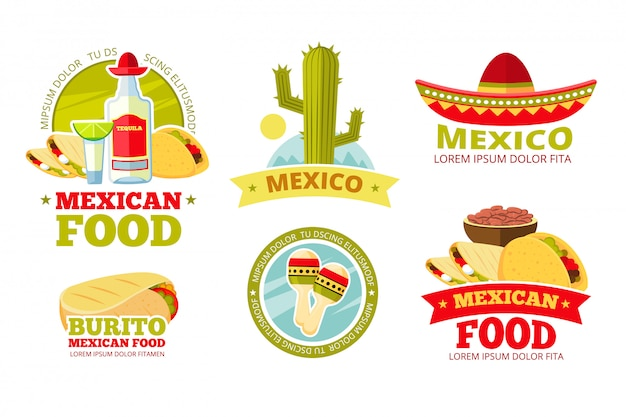 Odznaki restauracja meksykańska salsa żywności wektor