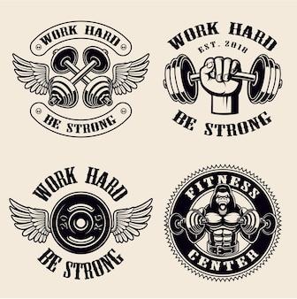Odznaki siłowni na białym tle