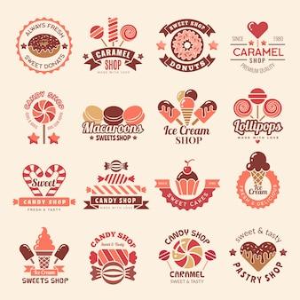 Odznaki sklepu ze słodyczami. słodycze ciasteczka babeczki symbol lizaka do zbierania słodyczy logo
