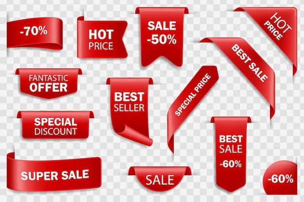 Odznaki sprzedaży wstążki, metki z cenami. zestaw tagów.